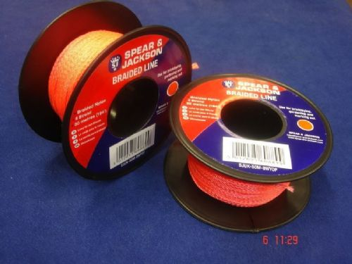Spear & Jackson Orange Braided Nylon Bricklayers Line 2 x 50 Metre Spools UK50M8